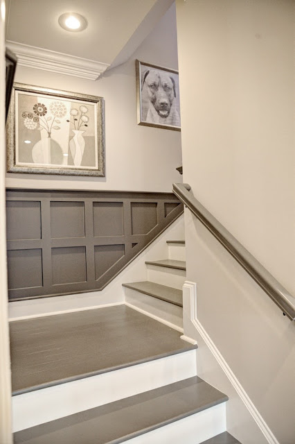Lighting Basement Washroom Stairs: Before And After: Carpeted Stairs Get Painted